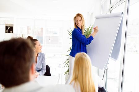 Business plan explained on flipchart Stock fotó