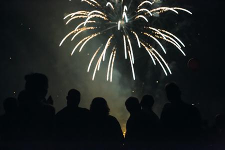 花火を見る群衆