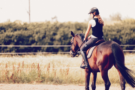 Picture of young girl riding her horse Reklamní fotografie - 84359802