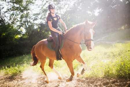 Portrait of young woman riding horse in countryside Stock Photo