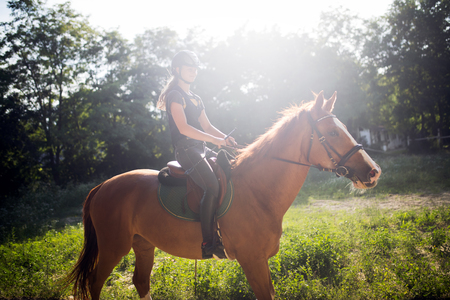 Portrait of young woman riding horse in countryside Reklamní fotografie - 84435363
