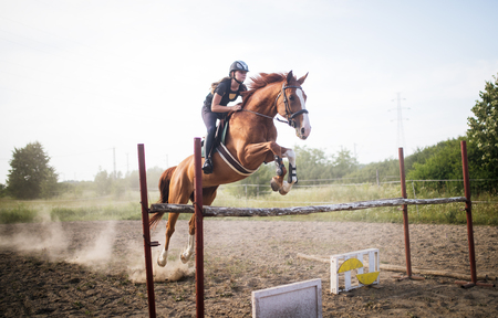 Young female jockey on horse leaping over hurdle