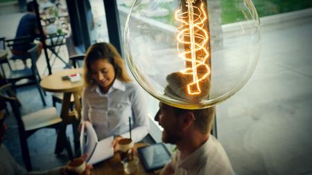 Vintage bulb symbolizing new ideas
