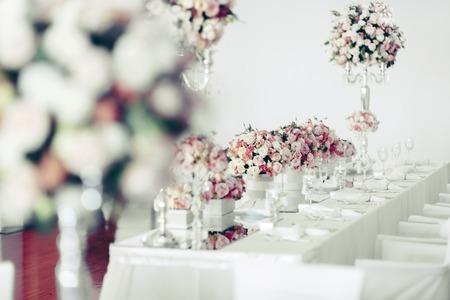 Beautiful wedding table arrangement