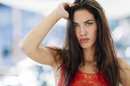 Portrait of attractive brunette Stock Photo