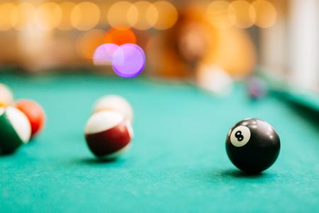 Snooker game eight ball pool billiards Foto de archivo