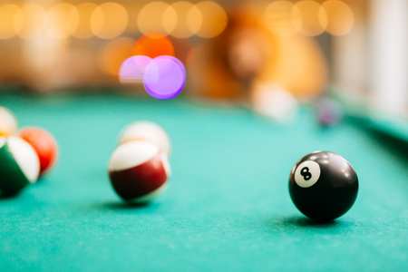 Snooker game eight ball pool billiards Stockfoto