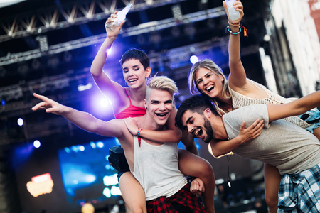 Group of friends having great time on music festival Stok Fotoğraf