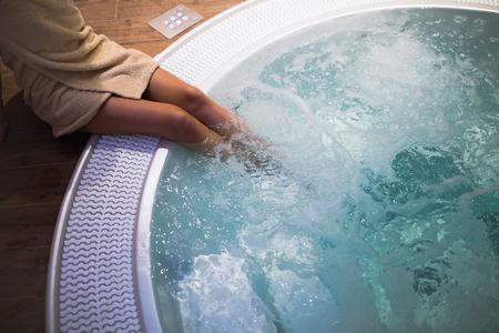Modern jacuzzi in wellness spa resort Фото со стока