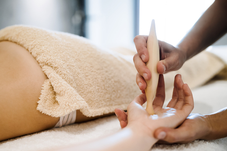 Hand and palm massage Stock Photo