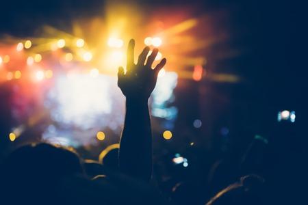 Juichende menigte op concert genietend van muziekprestaties