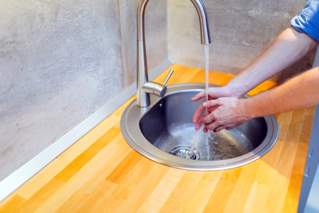 Keeping hands clean Stock Photo