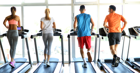 Picture of people running on treadmill in gym Stock fotó
