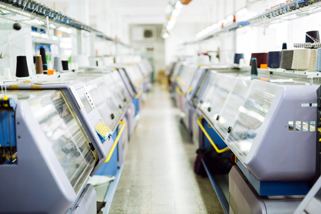 Textile industry machines in factory