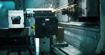 machine tool in metal factory with drilling cnc machines 版權商用圖片