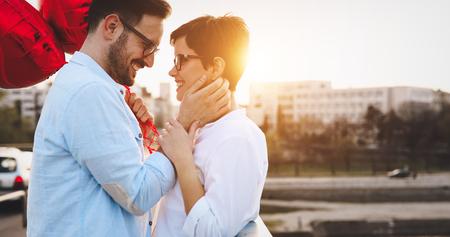 Sentimental couple in love bonding Stock Photo