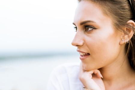 Beautiful young woman profile shot