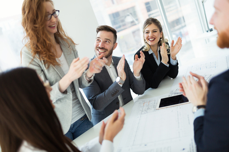Business colleagues celebrating successful business year Stock Photo