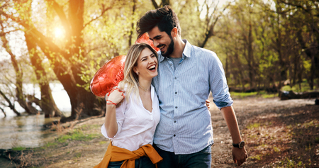 summer holidays, celebration and dating concept - happy couple