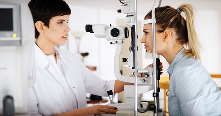 Ophthalmology concept. Patient eye vision examination in ophthalmological clinic Stock Photo