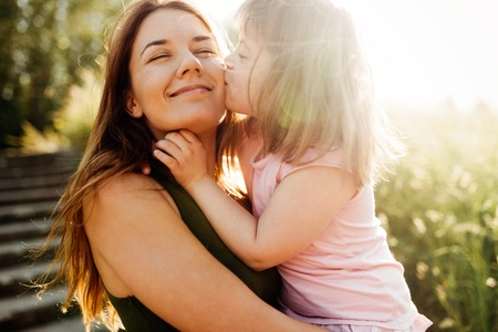 Picture of mother and child with special needs Stock Photo