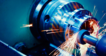 machine tool in metal factory with drilling cnc machines Stockfoto