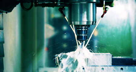 machine tool in metal factory with drilling cnc machines Stock Photo