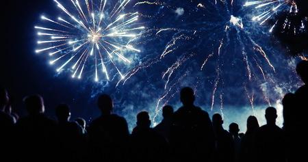 Crowd watching fireworks 스톡 콘텐츠