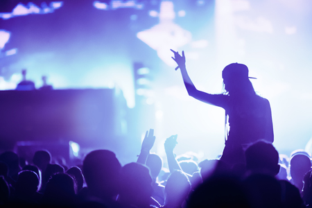 Cheering crowd with hands in air at music festival Stock Photo
