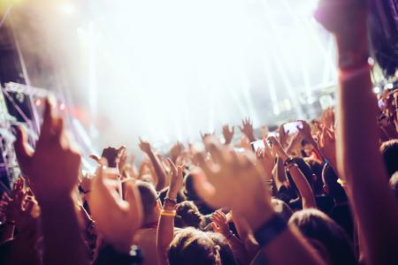 Portrait of happy crowd enjoying at music festival