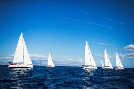 野海でのヨットレースの肖像 写真素材