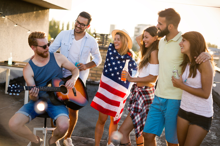 Friends Celebrating 4th Of July Holiday Stock Photo