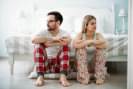 Picture of young couple having relationship problems