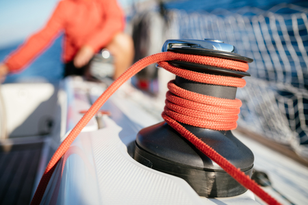 Portrait of sailboat equipment consisted of winch and rope Stok Fotoğraf - 102556955