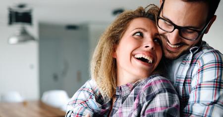 Sentimental couple in love bonding 写真素材