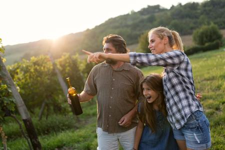 Winegrower family tasting wine Stock fotó