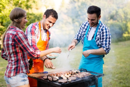 Friends having a barbecue party in nature Banco de Imagens - 104101878