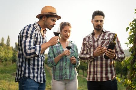 Wine grower and people in vineyard Imagens
