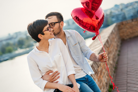 Sentimental couple in love bonding Stock Photo