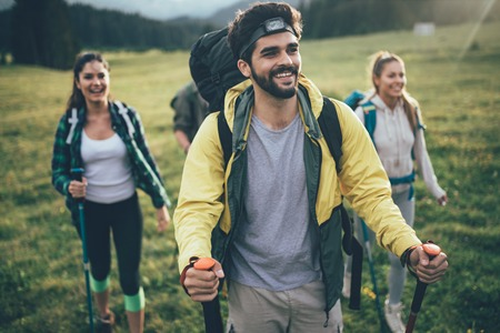 Trek Hiking Destination Experience Backpack Lifestyle Concept Stock fotó