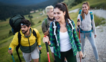 Trek Hiking Destination Experience Adventure Happy Lifestyle Concept Stock fotó