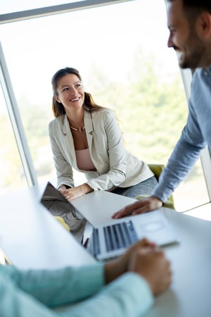 Group of business people.Business people sharing their ideas. Stock Photo
