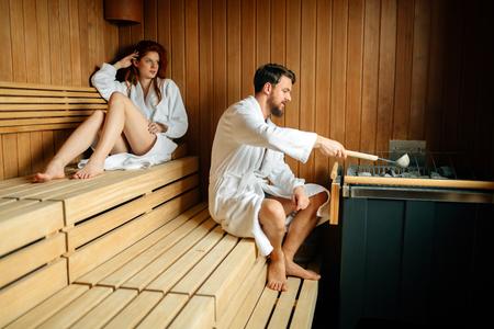 Beautiful couple enhoying wellness weekend in hotel Фото со стока