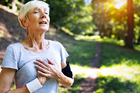 Mature woman athlete have sore left chest pain dizziness