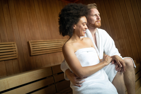 Couple in love relaxing and enjoying wellness weekend