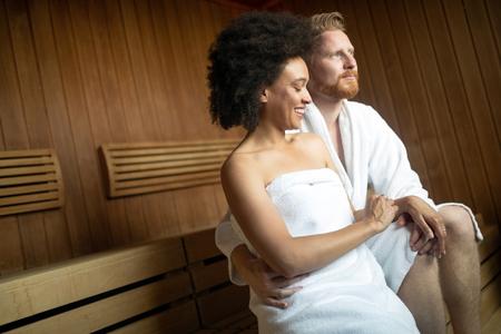 Couple in love relaxing and enjoying wellness weekend Banco de Imagens - 118430488