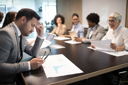 Business colleagues in conference meeting room presentation Standard-Bild - 121221575