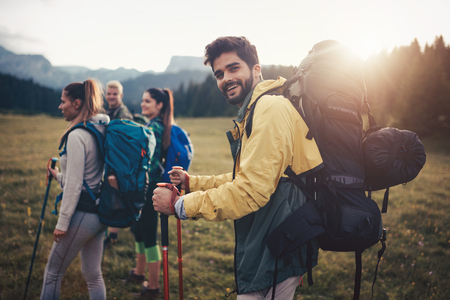 Trek Hiking Destination Experience Backpack Lifestyle Concept Stock Photo