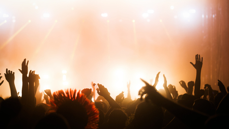 Picture of party people on music festival Imagens