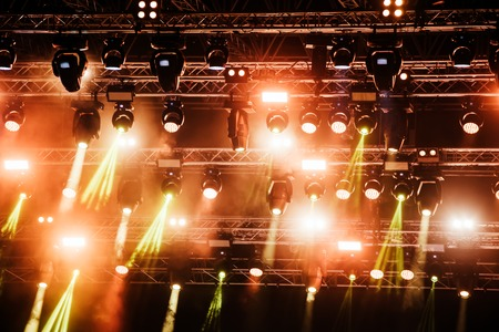 Picture of bright concert lighting on stage Archivio Fotografico - 122744499